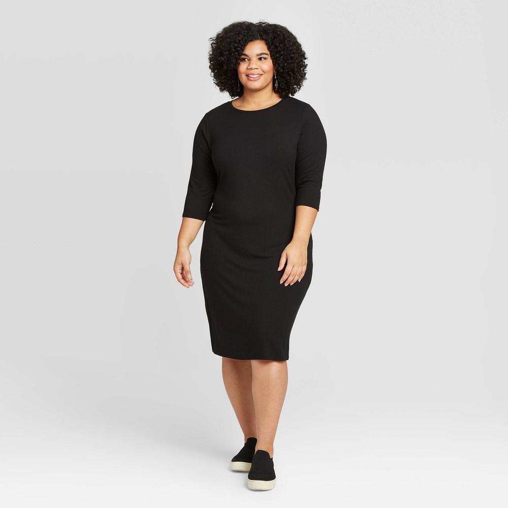 Women's Plus Size 3/4 Sleeve Rib-Knit Dress - A New Day Black 3X was $24.99 now $17.49 (30.0% off)