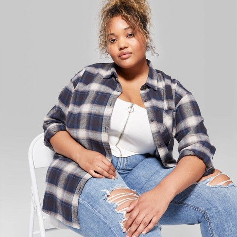 Women's Plus Size Plaid Long Sleeve Button-Down Heavy Weight Flannel Shirt - Wild Fable™ Navy - image 1 of 3