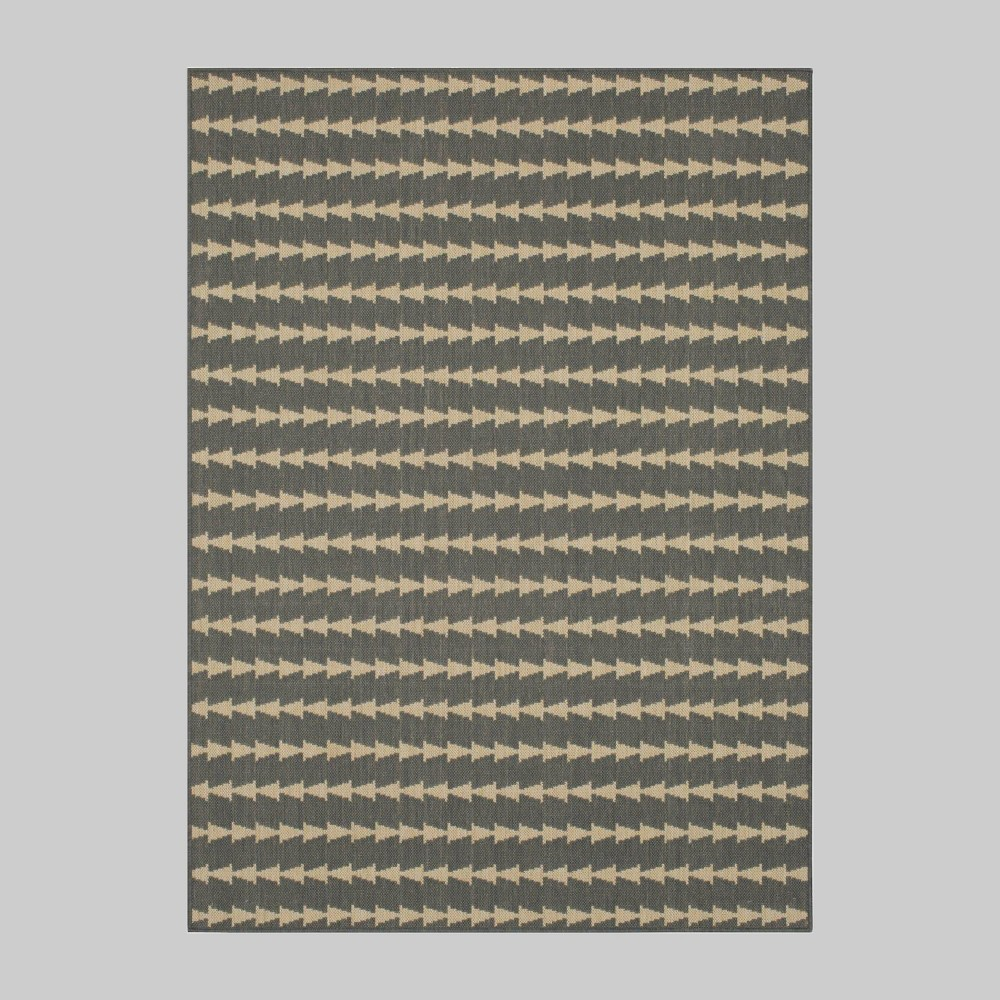 9' x 12' Arrow Stripe Outdoor Rug Gray - Project 62