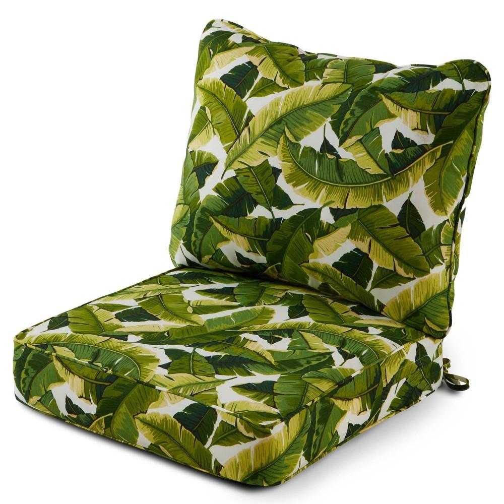 Image of 2pc Outdoor Deep Seat Cushion Set Palm Leaves White - Kensington Garden