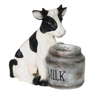 """7.76"""" Resin Novelty Cow and Milk Pail Planter Black/White/Silver - Exhart"""