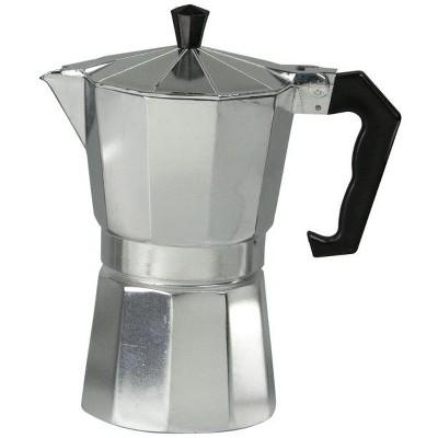 Home Basics 6 Cup Demitasse  Shot Aluminum Stovetop Espresso Maker, Grey