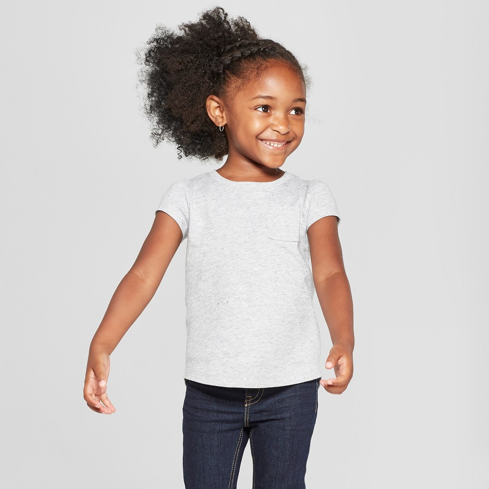 Toddler Girls' Short Sleeve T-Shirt - Cat & Jack Gray 4T
