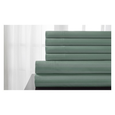 Delray Damask Stripe 600 Thread Count Cotton Sheet Set (Queen)Seaglass - Elite Home Products