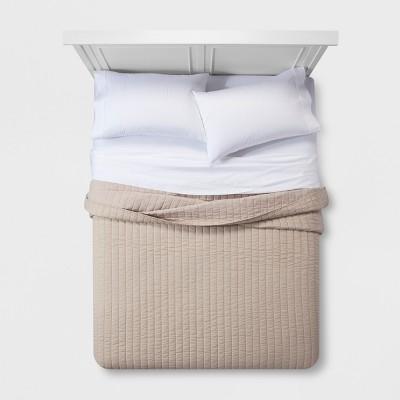 Brown Chambray Linen Blend Quilt (King)- Threshold™