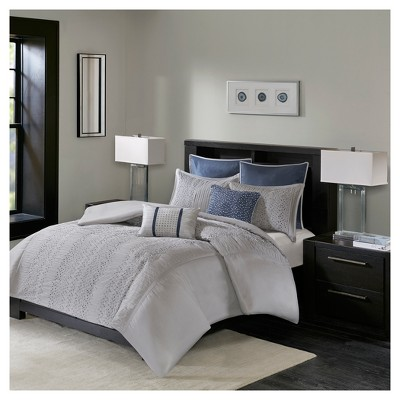 Gray Lillian Embroidered Duvet Cover Set King/California King 7pc