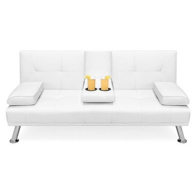 Best Choice Products Modern Faux Leather Convertible Futon Sofa w/ Removable ArmrestsMetal Legs2 Cupholders