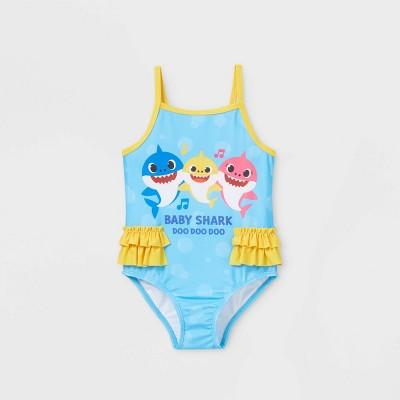 Toddler Girls' Baby Shark One Piece Swimsuit - Blue