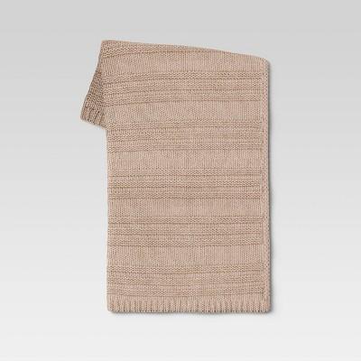 "50""x60"" Chunky Striped Knit Throw Blanket Neutral - Threshold™"