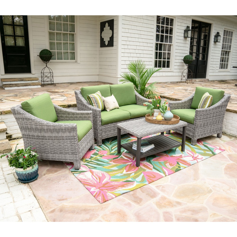 Image of 4pc Marietta All-Weather Wicker Chat Set Green - Leisure Made