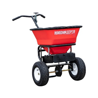 Buyers Products 100 Pound Capacity 1.67 Cubic Feet Groundskeeper Walk Behind Seed, Salt, and Fertilizer Spreader with Hopper Screen & Rain Cover, Red