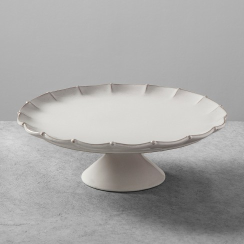 Stoneware Scalloped Cakestand Large - Cream - Hearth & Hand™ with Magnolia - image 1 of 2