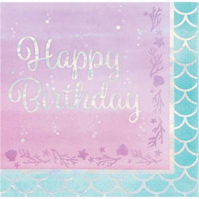 "48ct Mermaid Print ""Happy Birthday"" Napkins"