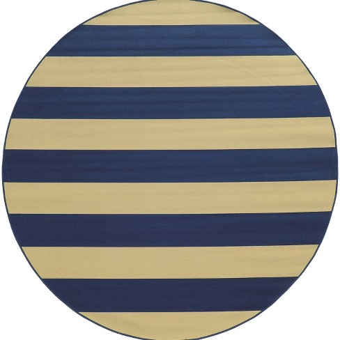 Rio Striped Patio Rug Blue/Ivory  - image 1 of 1