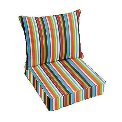 Sunbrella Stripe Outdoor Seat Cushion Red/Green