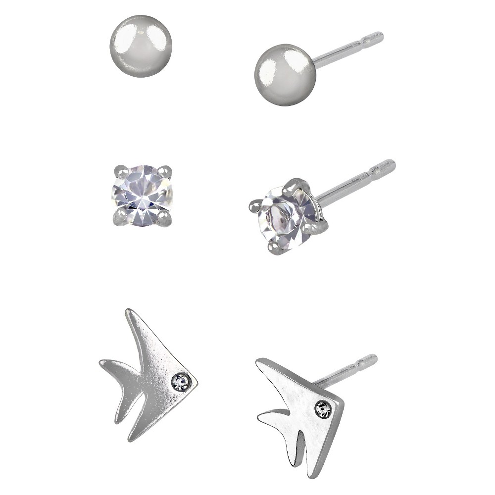 Women's Studs Earrings Sterling Silver Three Pairs Ball Stud & Fish and Crystal Eye-Silver/Clear