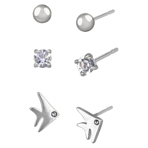 Women's Studs Earrings Sterling Silver Three Pairs Ball Stud & Fish and Crystal Eye-Silver/Clear - image 1 of 1