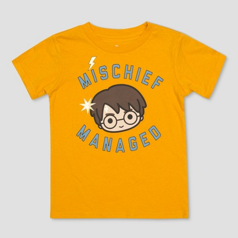 Toddler Boys' Harry Potter Mischief Managed Short Sleeve T-Shirt - Gold - image 1 of 2