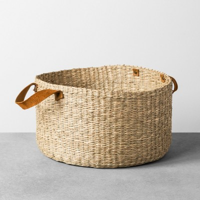 Seagrass Basket with Leather Handle - Large - Hearth & Hand™ with Magnolia