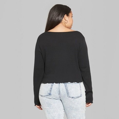 4ab53002464 Women s Plus Size Long Sleeve Scoop Neck T-Shirt - Wild Fable™ Black    Target