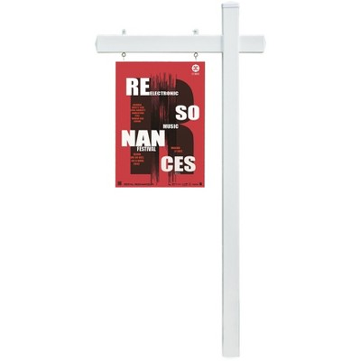 Gardenised Tall 6 Feet White Vinyl Real Estate Outdoor Yard Hang Sign Realtor Post Display Holder with Heavy Duty Power Steel Stake