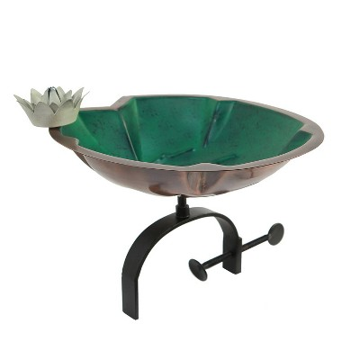 """9.75"""" Lilypad Birdbath with White Flower and Over Rail Bracket Copper Plated Patina Finish - Achla Designs"""