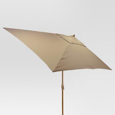 10' x 6' Rectangular Umbrella - Taupe - Medium Wood Finish - Threshold™