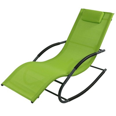Rocking Wave Lounger with Pillow - Single - Green - Sunnydaze Decor
