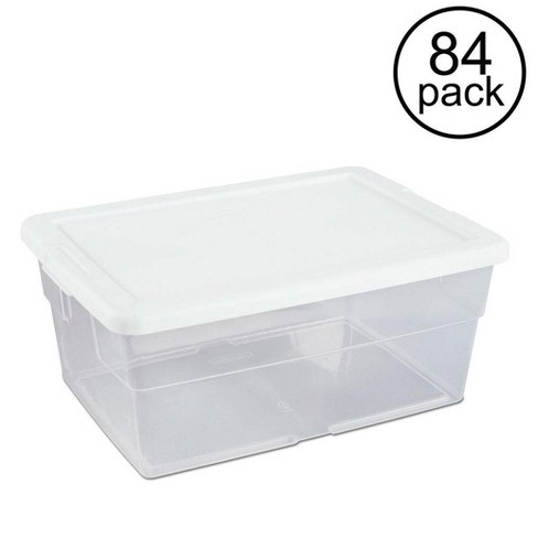 Sterilite 16 Quart Clear Stacking Closet Storage Box Container Tub (84 Pack) - image 1 of 6