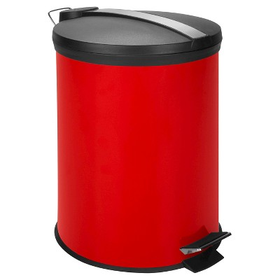 Honey-Can-Do Steel Round Trash Can with Lid - Red (12L)