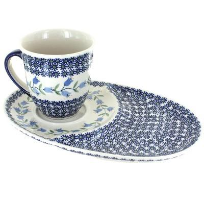 Blue Rose Polish Pottery Tulip Breakfast Plate with Breakfast Mug