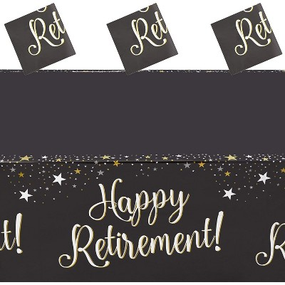 """Sparkle and Bash 3 Pack Disposable Rectangle Plastic Tablecloths, Happy Retirement Party Table Covers 54"""" x 108"""""""