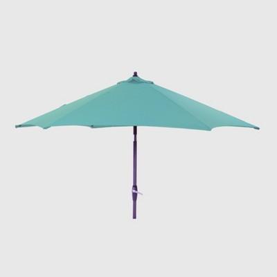 9' Round Patio Umbrella Turquoise - Black Pole - Threshold™