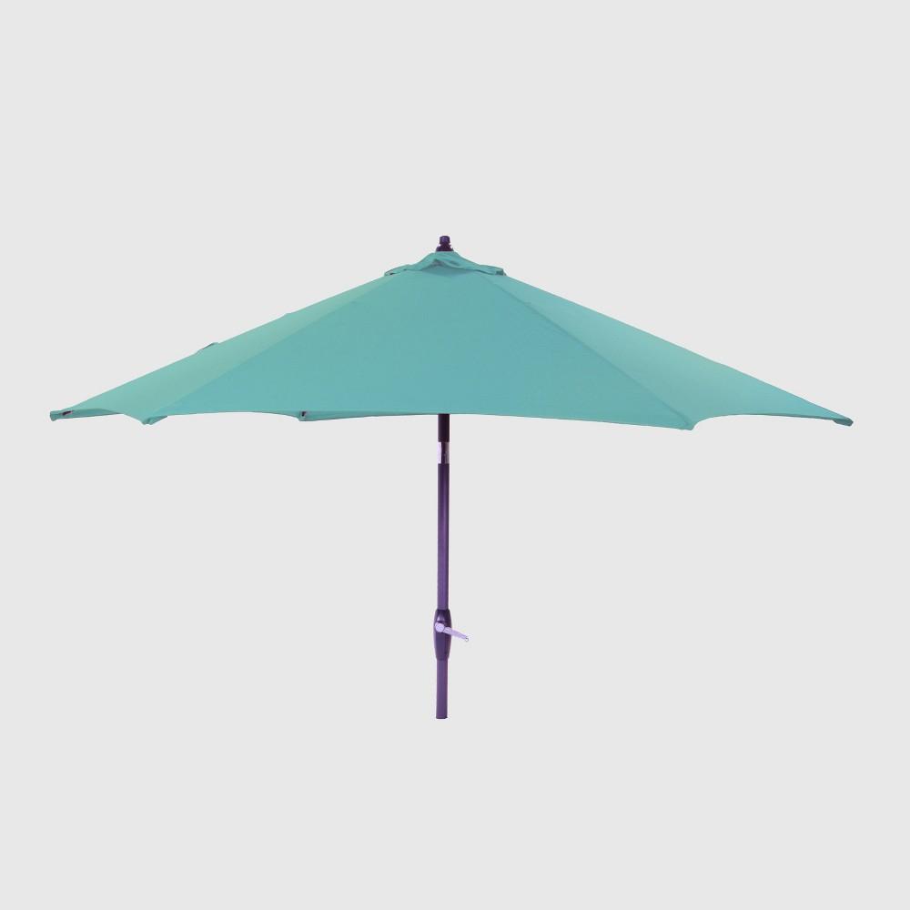 9' Round Patio Umbrella Turquoise - Black Pole - Threshold