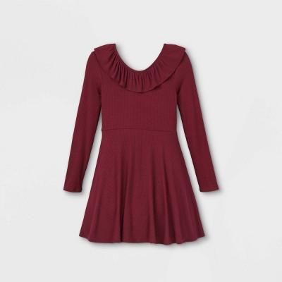 Girls' Rib Ruffle Neck Long Sleeve Dress - art class™