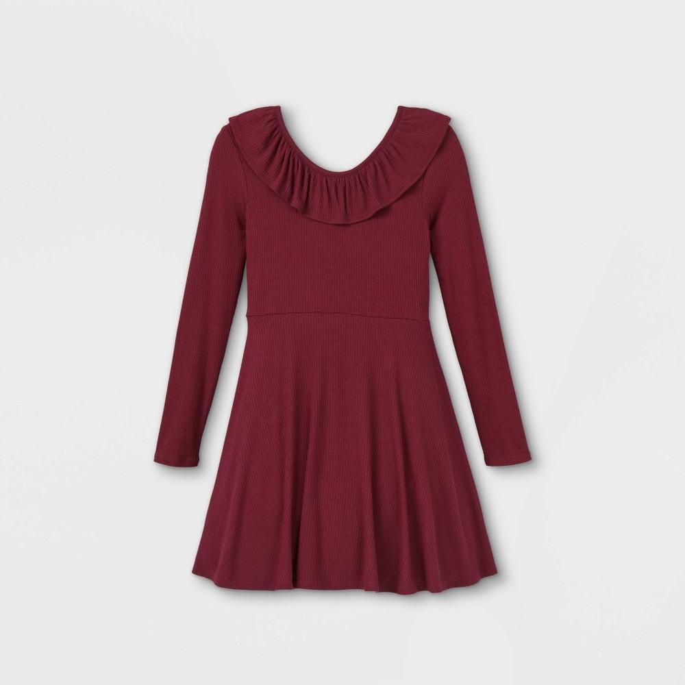 Girls 39 Rib Ruffle Neck Long Sleeve Dress Art Class 8482 Maroon L