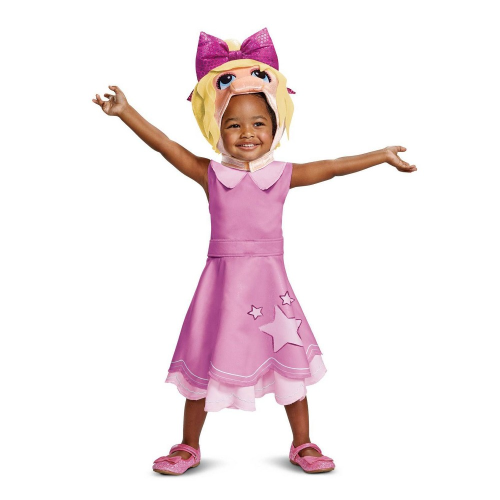 Image of Halloween Toddler Girls' Muppet Babies Miss Piggy Classic Halloween Costume 2T, Girl's, MultiColored