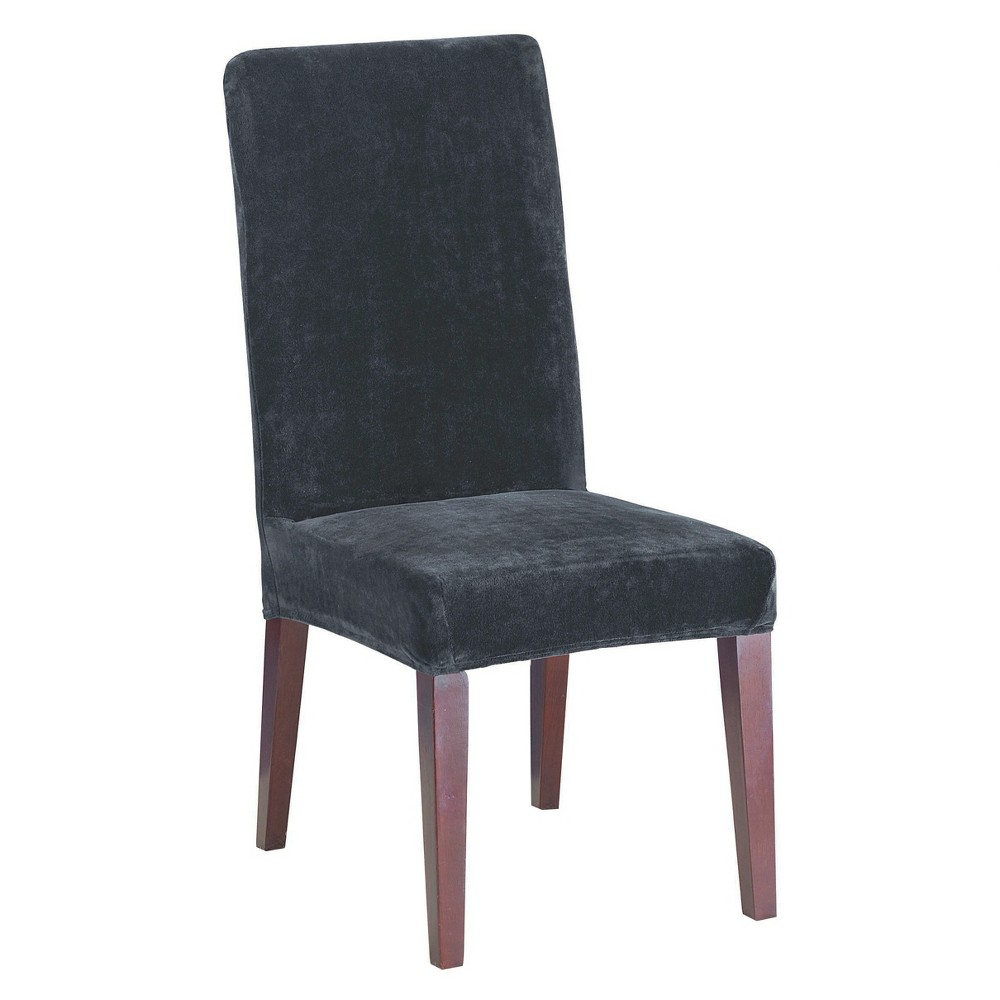 Black Stretch Plush Short Dining Room Chair Slipcover - Sure Fit