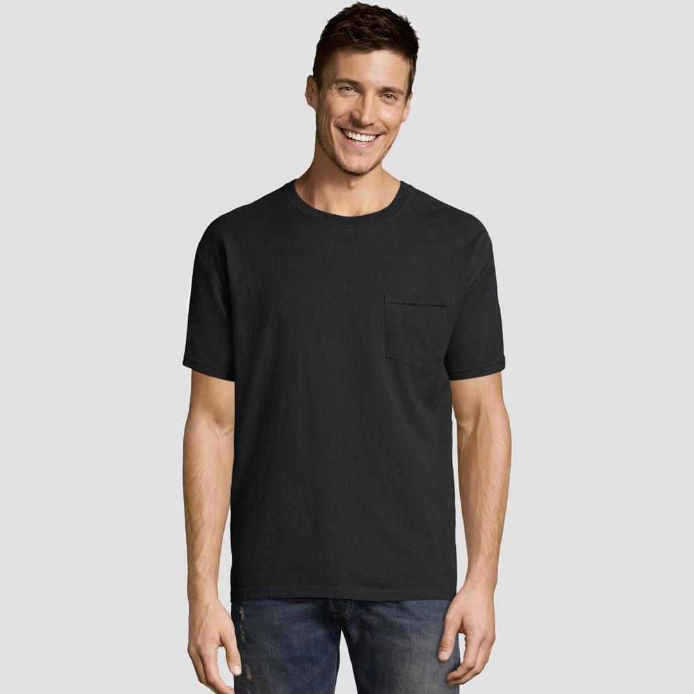 Hanes Men's Big & Tall Short Sleeve 1901 Garment Dyed Pocket T-Shirt - Black 3XL