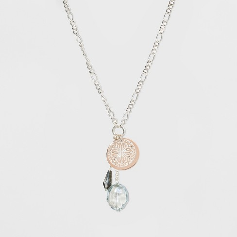 Glass Drops, Coin, and Filigree Long Necklace - A New Day™ Silver - image 1 of 3