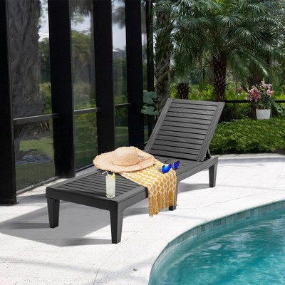 Costway Patio Lounge Chair Chaise Recliner Weather Resistant Adjustable Brown\Black