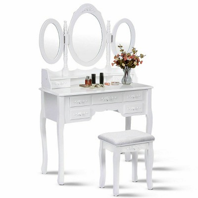 Costway White Tri Folding Oval Wood Vanity Makeup Table Set 7 Drawers