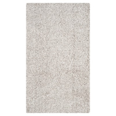 White/Light Gray Solid Shag/Flokati Loomed Area Rug - (4'X6')- Safavieh®