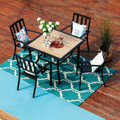 5pc Patio Table & Metal Chairs with Striped Design - Captiva Designs