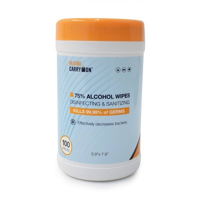 Miami CarryOn 75% Alcohol Disinfecting & Sanitizing Wipes Canister - 100ct