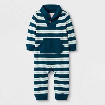 Baby Boys' Striped French Terry Shawl Collar Stripe Romper with Kangaroo Pocket - Cat & Jack™ Blue 3-6M