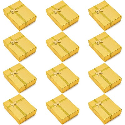 Juvale 12 Pack Jewelry Gift Boxes with Ribbon Bowknot for Rings, Pendants, Earrings - Ideal for Anniversaries, Weddings, Birthdays, Gold