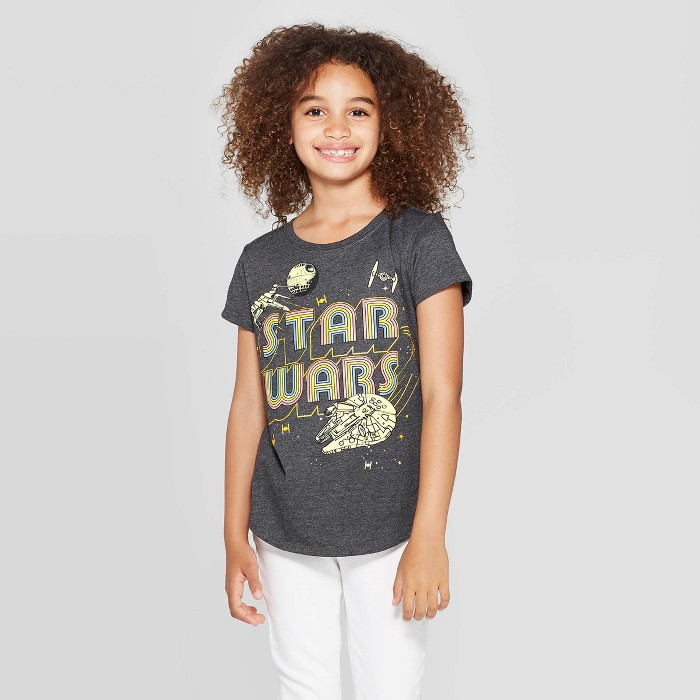 Girls' Star Wars Logo Short Sleeve T-Shirt - Charcoal Heather - image 1 of 3