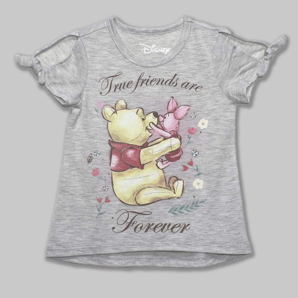 Toddler Girls' Disney Winnie the Pooh Short Sleeve T-Shirt - Gray 5T