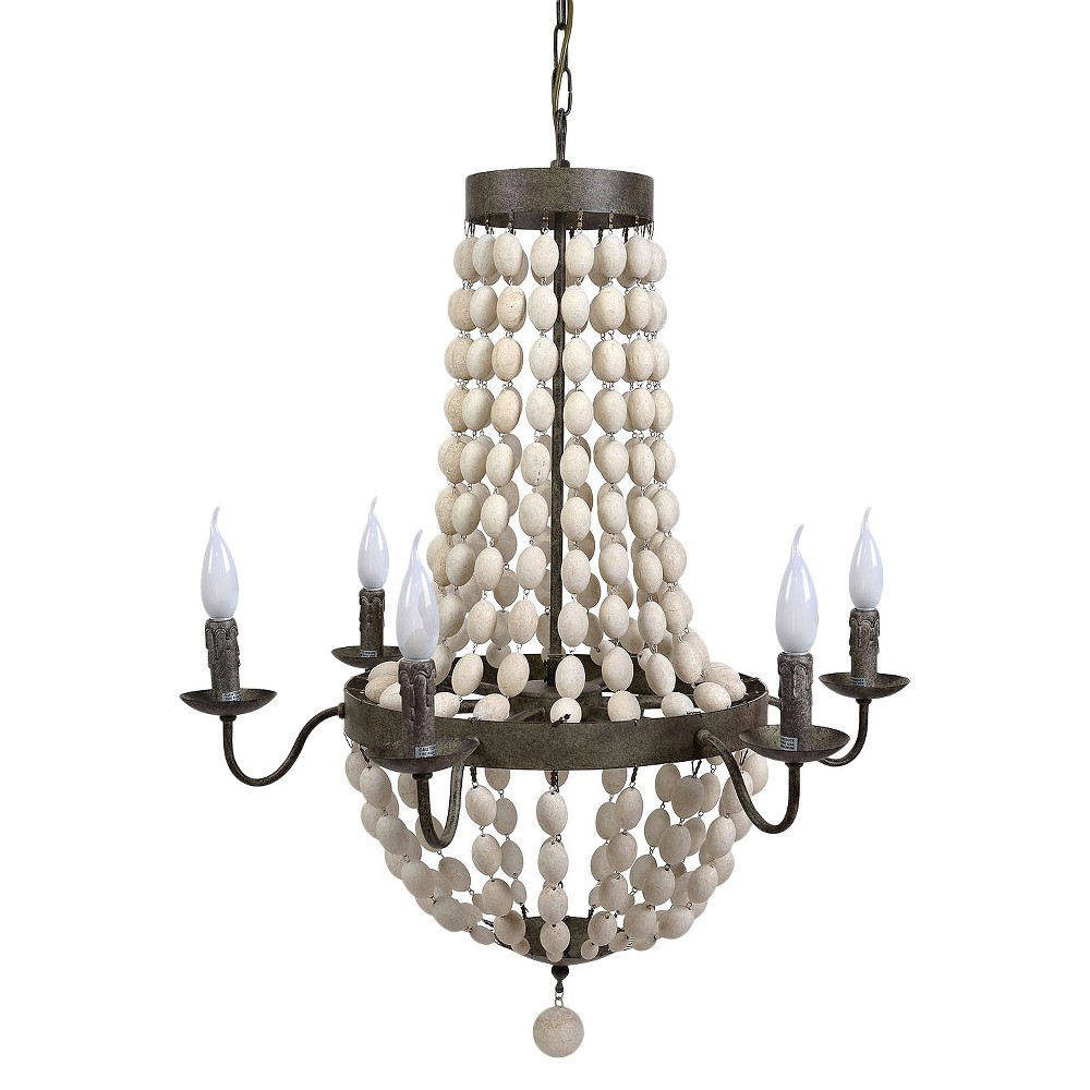 Iron Chandelier with Wood Beads & 6 Light - Black